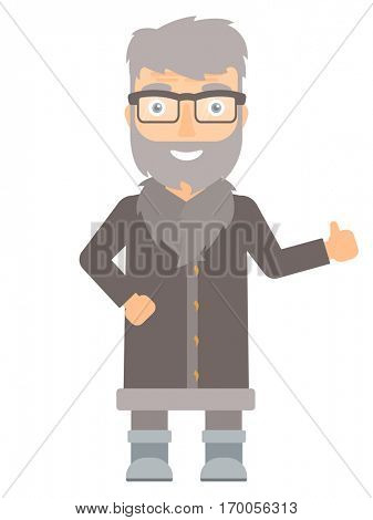 Happy hipster north man giving thumb up. Smiling bearded north man with thumb up. Cheerful north man in sheepskin coat showing thumb up. Vector flat design illustration isolated on white background