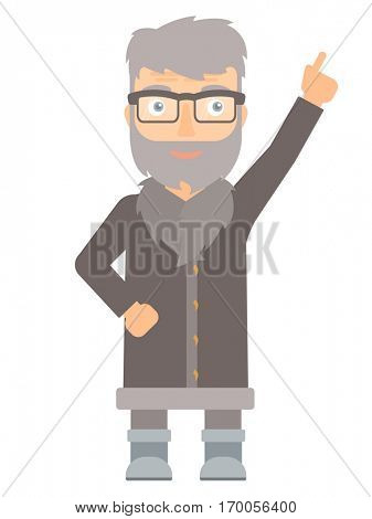 North man pointing up with his finger and having an idea. North man in sheepskin coat showing up by his finger and indicating at something. Vector flat design illustration isolated on white background
