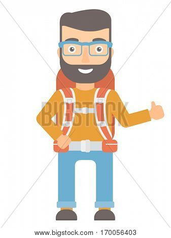 Hipster caucasian hiker with backpack giving thumbs up. Happy hiker showing thumbs up gesture. Cheerful hiker with thumb up gesture . Vector flat design illustration isolated on white background.