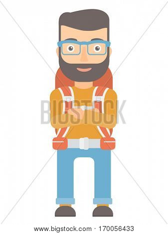 Young caucasian tourist standing with arms crossed. Confident hipster tourist with folded arms. Cheerful tourist standing with folded arms. Vector flat design illustration isolated on white background