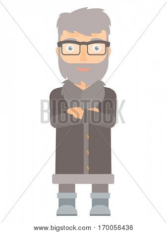North man in sheepskin coat standing with arms crossed. Bearded north man with folded arms. An adult north man standing with folded arms. Vector flat design illustration isolated on white background.