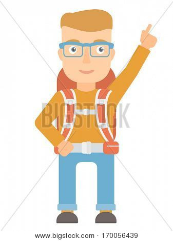 Caucasian tourist pointing with finger to the side. Young smiling tourist with backpack showing up by finger and indicating at something. Vector flat design illustration isolated on white background.
