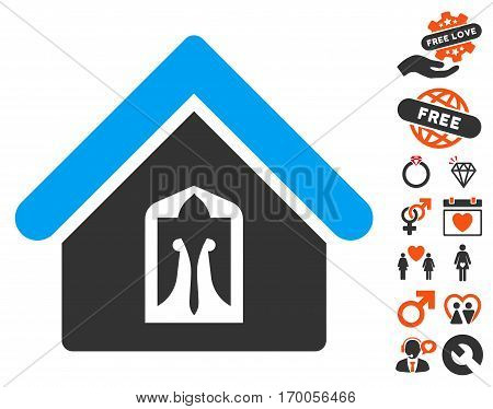 Home pictograph with bonus marriage icon set. Vector illustration style is flat iconic symbols for web design app user interfaces.