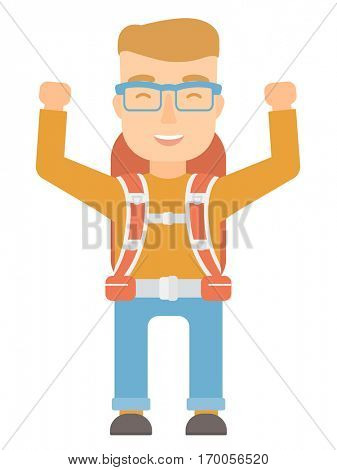 Young caucasian backpacker with backpack standing with raised hands. Excited backpacker celebrating success. Backpacker during trip. Vector flat design illustration isolated on white background.