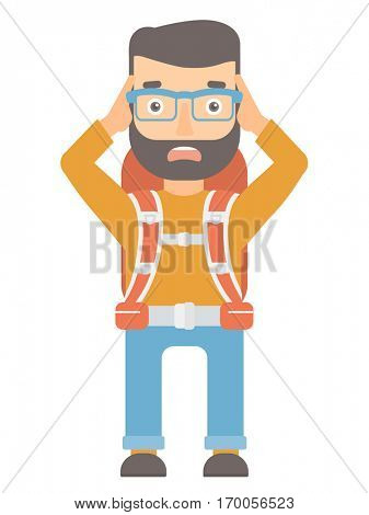 Caucasian stressed traveling man with backpack. Stressful traveling man clutching his head. Traveling man feels stress because he is lost. Vector flat design illustration isolated on white background.