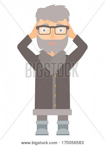 Stressed hipster north man clutching his head. Worried north man grabs his head. Sad circus actor holding his hands on a head. Vector flat design illustration isolated on white background.
