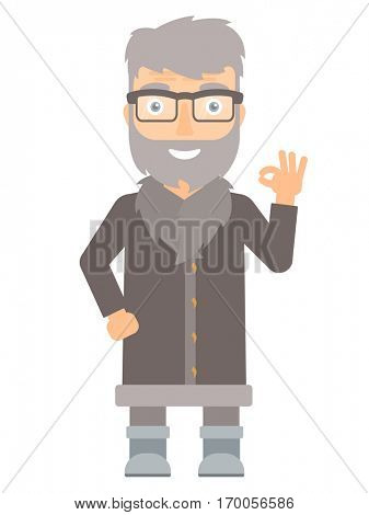 Caucasian smiling north man showing ok sign. Cheerful bearded north man making ok sign. An adult happy north man gesturing ok sign. Vector flat design illustration isolated on white background.
