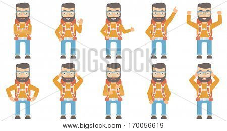Angry caucasian backpacker pointing at watches. Annoyed backpacker pointing at watches and time. Anxious backpacker checking time. Set of vector flat design illustrations isolated on white background.