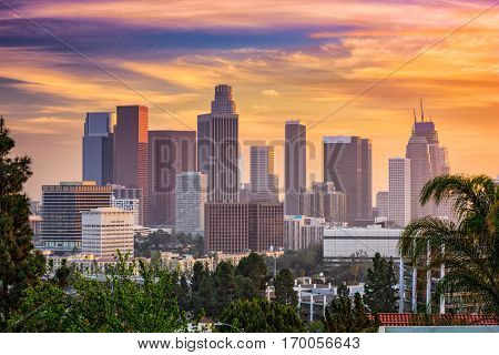 Los Angeles, California, USA downtown skyline.