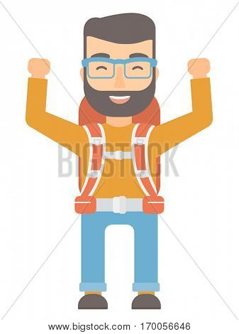 Caucasian backpacker with backpack and binoculars standing with raised hands. Backpacker celebrating success. Backpacker during trip. Vector flat design illustration isolated on white background.