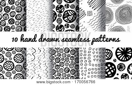 Hand Drawn Seamless Triangle Pattern With Ink Doodles. Black And White Delta Background Set. Squiggle Texture Organic Geometric Design