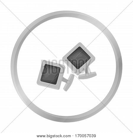 Cufflinks icon in monochrome style isolated on white background. Jewelry and accessories symbol vector illustration.