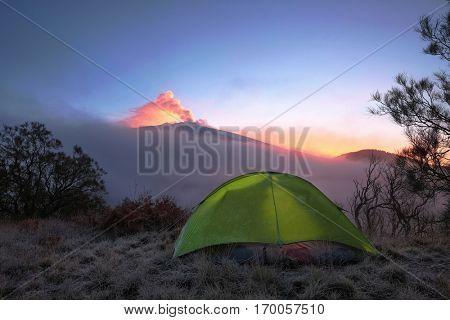 camp and smoke Etna volcano at dawns, Siciliy