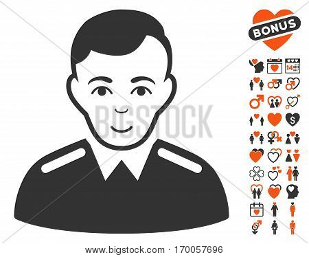 Officer icon with bonus lovely symbols. Vector illustration style is flat iconic elements for web design app user interfaces.