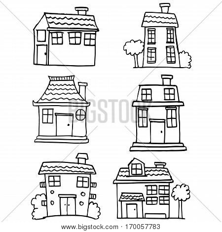 Illustration of house set hand draw collection stock