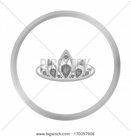 Diadem icon in monochrome style isolated on white background. Jewelry and accessories symbol vector illustration.