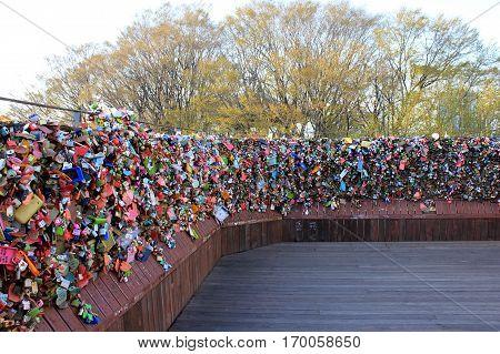 Love and key lock on N seoul tower