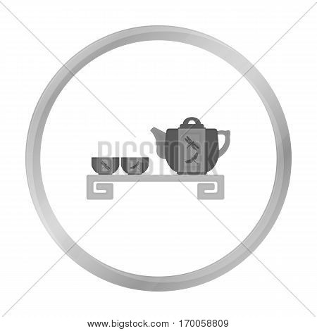 Japanese tea monochrome icon in monochrome style isolated on white background. Japan symbol vector illustration.