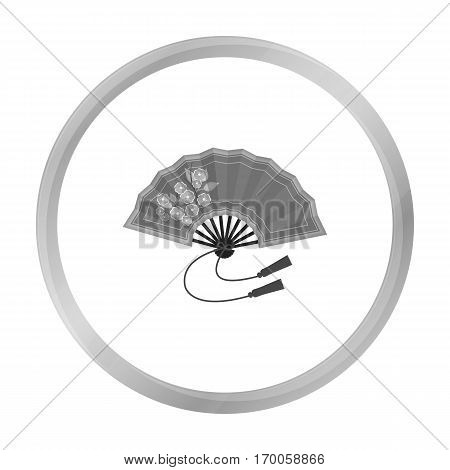 Folding fan icon in monochrome style isolated on white background. Japan symbol vector illustration.
