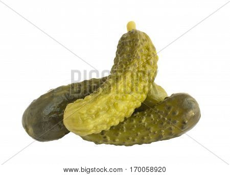 Homemade Pickled Gherkins or Cucumbers Isolated on White Background