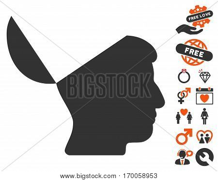 Open Mind pictograph with bonus passion clip art. Vector illustration style is flat iconic elements for web design app user interfaces.