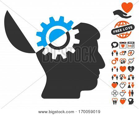 Open Mind Gear icon with bonus valentine clip art. Vector illustration style is flat iconic symbols for web design app user interfaces.