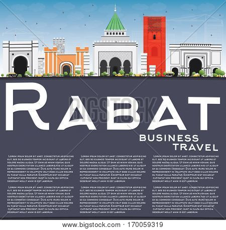 Rabat Skyline with Gray Buildings, Blue Sky and Reflections. Vector Illustration. Business Travel and Tourism Concept with Historic Architecture. Image for Presentation Banner Placard and Web Site
