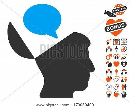 Open Mind Opinion pictograph with bonus decoration pictures. Vector illustration style is flat iconic symbols for web design app user interfaces.