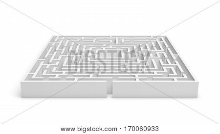 3d rendering of a white square maze on white background. Mazes and labyrinths. Secrets and puzzles. Problems and solutions.
