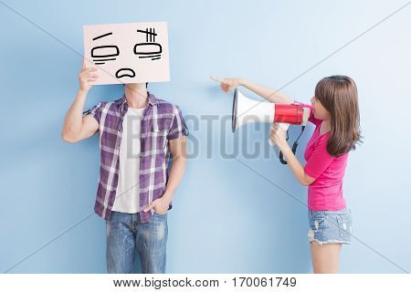 woman take the microphone shout to man take confuse billboard isolated on blue background
