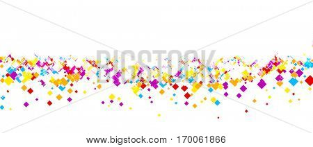 White banner with color rhombs. Vector paper illustration.