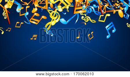Blue musical background with colorful notes. Vector illustration.