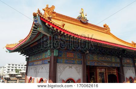 The roof of old Chinese temple very beautiful