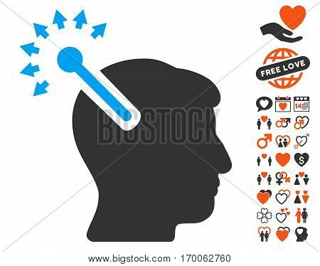 Optical Neural Interface pictograph with bonus passion clip art. Vector illustration style is flat iconic elements for web design app user interfaces.