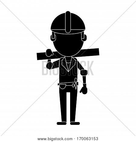 man construction wooden board and tool belt pictogram vector illustration