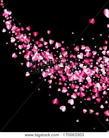 Black love valentine's background with pink hearts. Vector illustration.