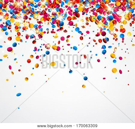 Festive white background with colorful glossy confetti. Vector illustration.