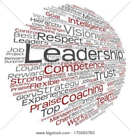 Vector concept or conceptual business leadership, management value word cloud isolated on background, metaphor to strategy, success, achievement, responsibility, authority, intelligence or competence