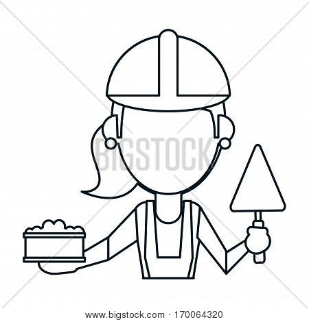 woman construction with brick and spatula thin line vector illustration eps 10