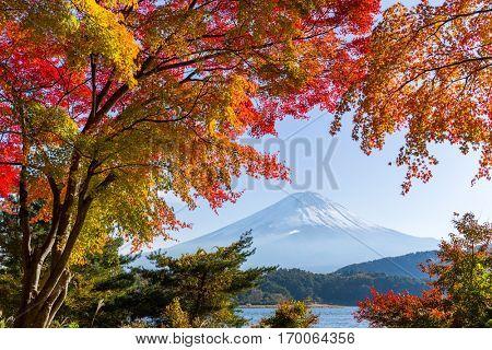 Lake and Fujisan in autumn