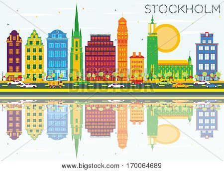 Stockholm Skyline with Color Buildings, Blue Sky and Reflections. Vector Illustration. Business Travel and Tourism Concept with Historic Architecture. Image for Presentation Banner Placard and Web