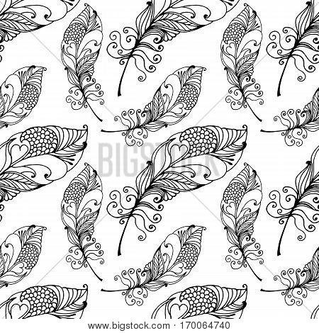 Hand Drawn Seamless Plumage Pattern. Black and White Endless Feather Background