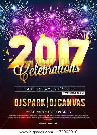 Elegant Pamphlet, Flyer, Banner or Invitation with colorful fireworks for Happy New Year 2017 Party Celebration.