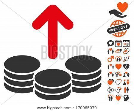 Payout Coins pictograph with bonus amour design elements. Vector illustration style is flat iconic elements for web design app user interfaces.