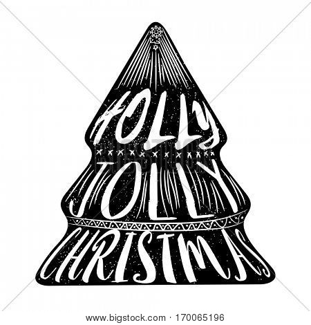Creative Xmas Tree with Stylish Text Holly Jolly Christmas. Can be used as Poster, Banner or Flyer design.
