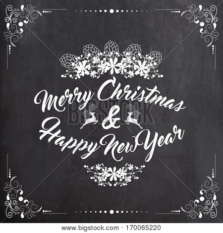 Merry Christmas and Happy New Year lettering design on floral decorated chalkboard background.