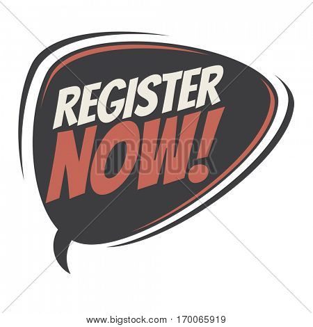 register now retro speech balloon