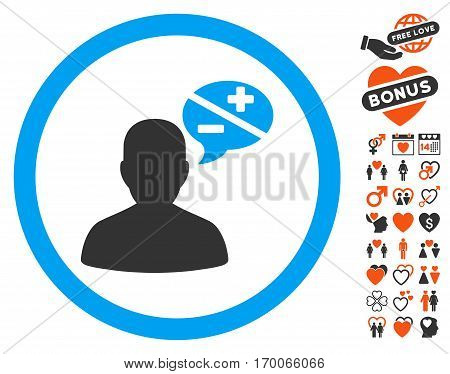 Person Arguments icon with bonus decoration images. Vector illustration style is flat iconic symbols for web design app user interfaces.