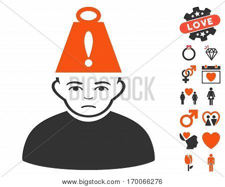 Person Heavy Stress icon with bonus passion clip art. Vector illustration style is flat iconic elements for web design app user interfaces.