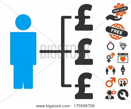 Person Pound Payments pictograph with bonus marriage icon set. Vector illustration style is flat iconic symbols for web design app user interfaces.
